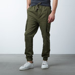 Cotton Blend Twill Cargo Joggers // Olive (2XL)