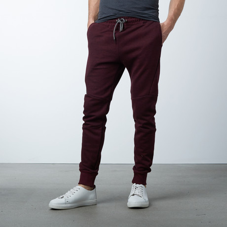 Moisture Wicking Track Pants // Heather Burgundy (S)