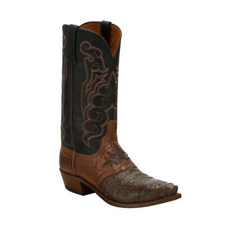 Western Hornback Crocodile Pointed Toe Boot // Barrel Brown