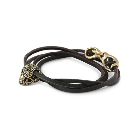 Day of the Dead Bracelet (Bronze + Black Leather)