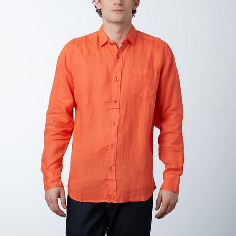 Long Sleeve Linen Shirt // Papaya