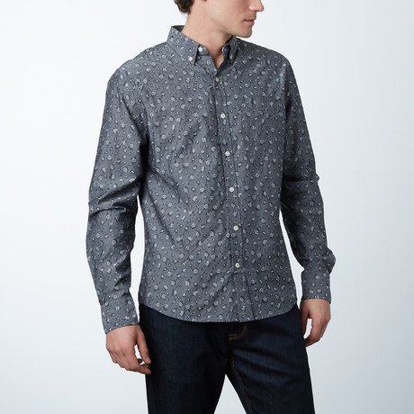 Panda Print Long Sleeve Modern Fit Shirt // Black