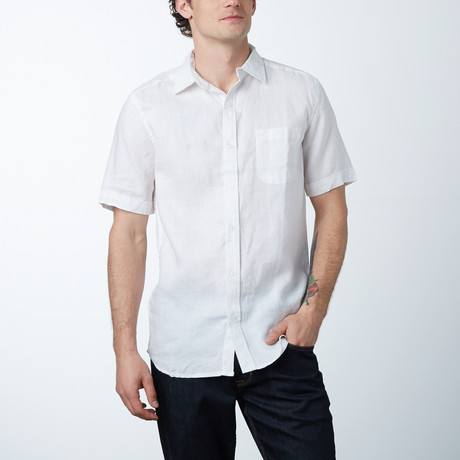 Short-Sleeve Linen Pocket Shirt // White
