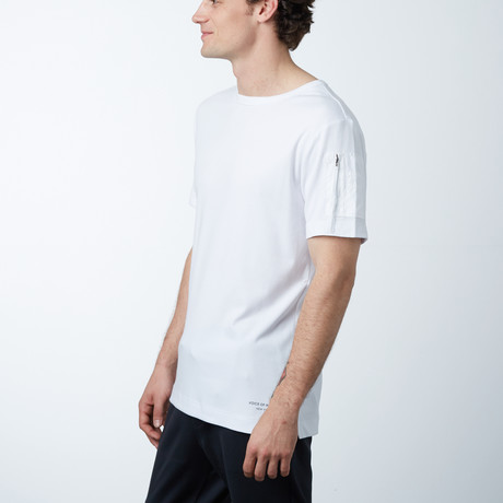 Sleeve Patch Pocket Long Tee // White