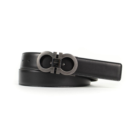 Double Gancio Reversible Belt // Gunmetal Gray