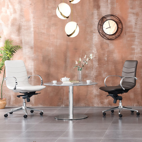 Horizon // Arm Office Chair (White Eco-Leather)