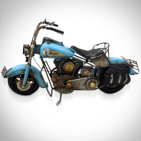50's Indian Chief // Handmade Metal Blue Motorcycle