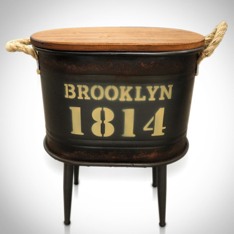 1814 Dark Green Brooklyn // Barrel Stool And Storage