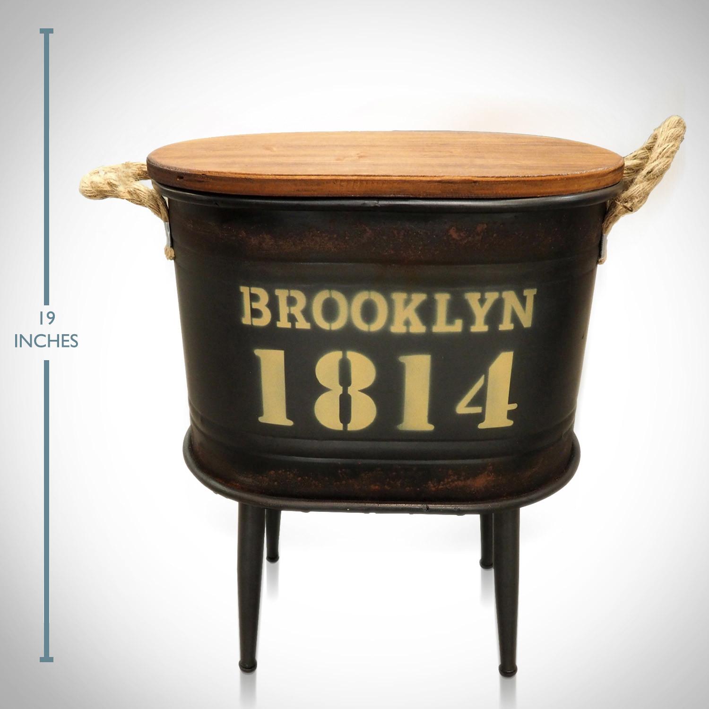 1814 Dark Green Brooklyn Barrel Stool And Storage