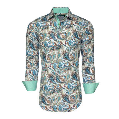 Jack Paisley Button-Up Shirt // Green