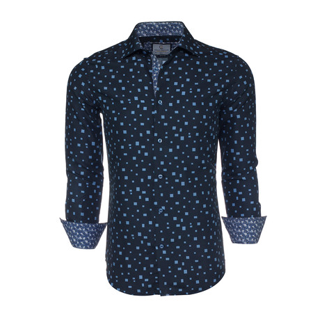 Lewis Abstract Button-Up Shirt // Navy