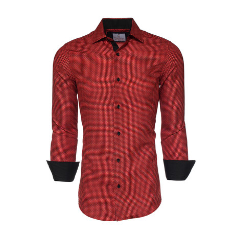 Lewis Printed Button-Up Shirt // Red