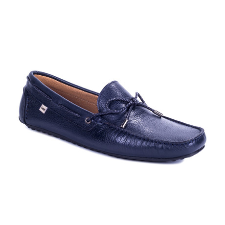 Borda Leather Moccasins // Blue