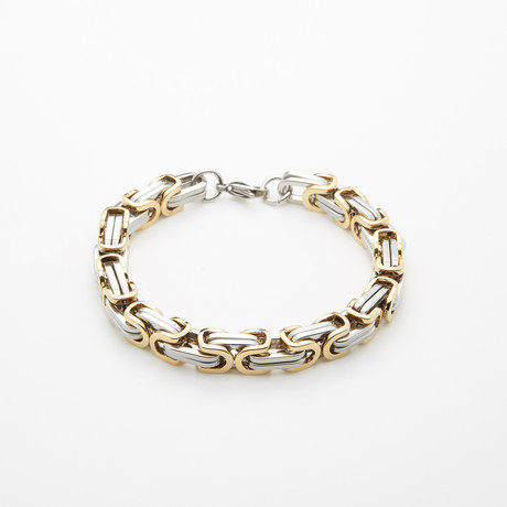 Jean Claude Jewelry // Gold Plated + Stainless Steel Bracelet // Silver + Gold