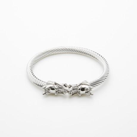 Dell Arte // Double Dragon Cable Bangle // Silver