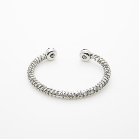 Dell Arte // Cable Encrusted Bangle // Silver