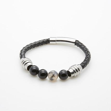 Dragon Agate + Onyx Leather Bracelet // Black + White