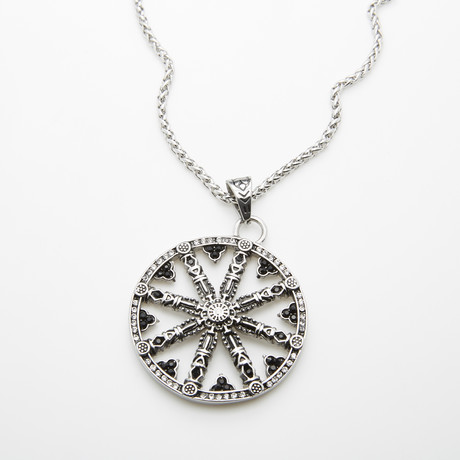 Dell Arte // Wheel Of Karma Pendant + Chain // Silver