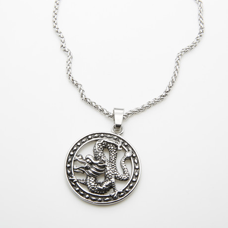 Dell Arte // Lucky Dragon Pendant // Black + Silver