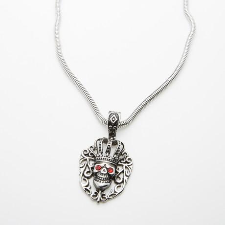 Dell Arte // Encrusted King Skull Pendant + Chain // Silver
