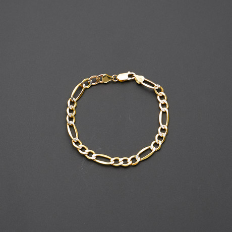 Hollow 14K Gold Pave Diamond Cut Figaro Chain Bracelet // 5mm // Yellow + White