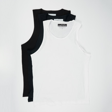 Ultra Soft Semi-Fitted Tank // Black + Black + White // Pack of 3 (S)