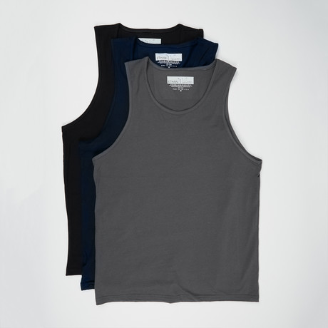 Ultra Soft Semi-Fitted Tank Top // Black + Heavy Metal + Navy // Pack of 3