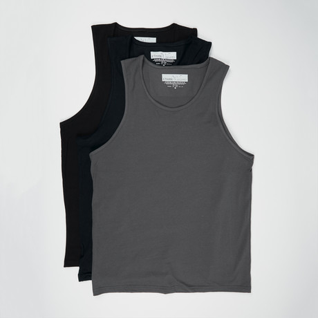 Ultra Soft Sueded Tank Top // Black + Black + Heavy Metal // Pack of 3 (S)