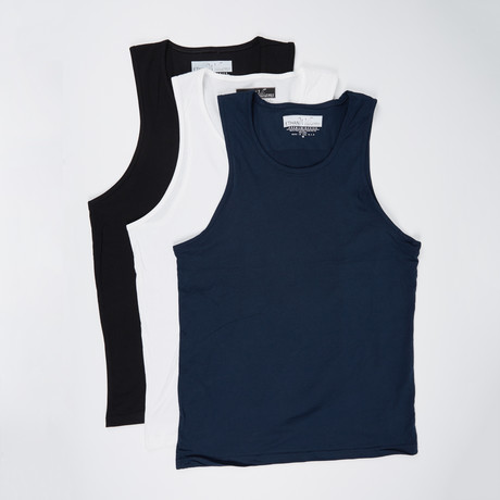Ultra Soft Semi-Fitted Tank // Black + Navy + White // Pack of 3 (S)