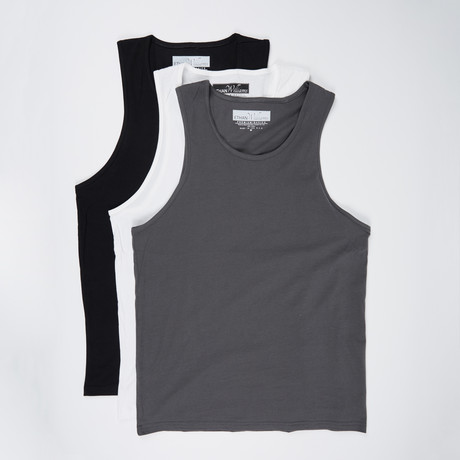 Ultra Soft Semi-Fitted Tank // Black + Heavy Metal + White // Pack of 3 (S)