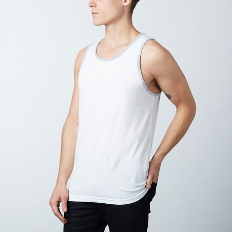 Ultra Soft Semi-Fitted Ringer Tank Top // White + Heather Gray