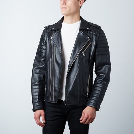 Quilted Leather Biker Jacket // Black (XS)