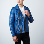 Quilted Leather Biker Jacket // Blue (3XL)