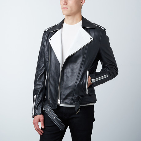Contrast Leather Jacket // Black + White (XS)