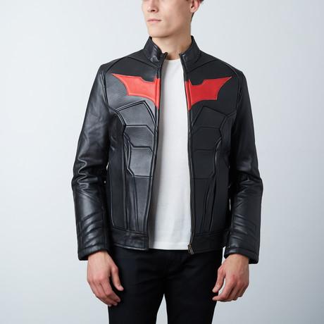 Batman Padded Leather Jacket + Red Bat (XS)