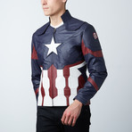 Captain America Leather Jacket // Blue (3XL)