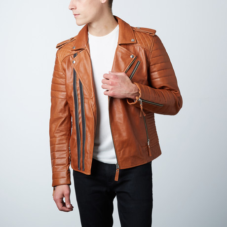 Quilted Leather Biker Jacket // Tan (XS)