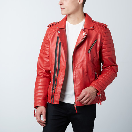Quilted Leather Biker Jacket // Red (XS)