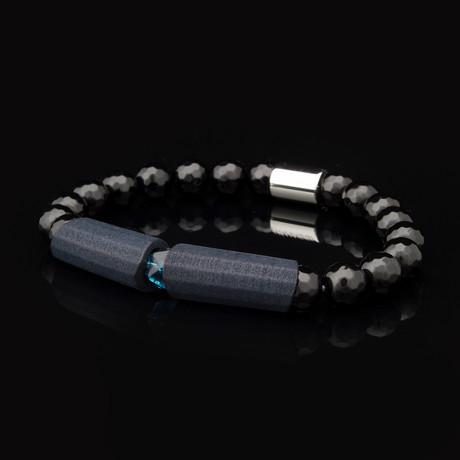 "Geo Black Agate Bracelet (6.5"")"