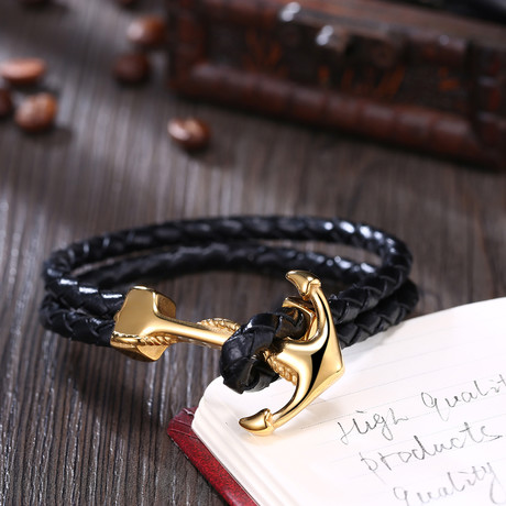 Anchor Loop Leather Bracelet