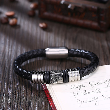 Three Emblem Design Leather Bracelet