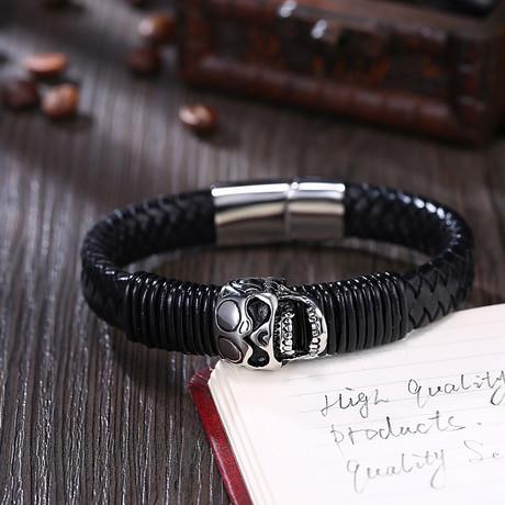Dead Filigree Skull Leather Bracelet