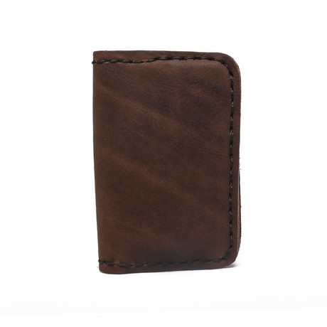 Tanned Leather Bi-Fold Card Case // Brown