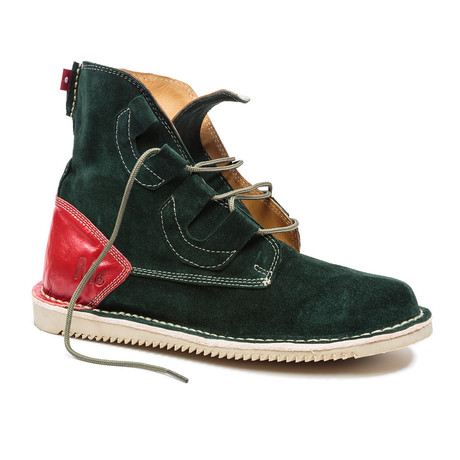 Mark McNairy Mojoo Shoe // Olive Suede + Red F-Grain