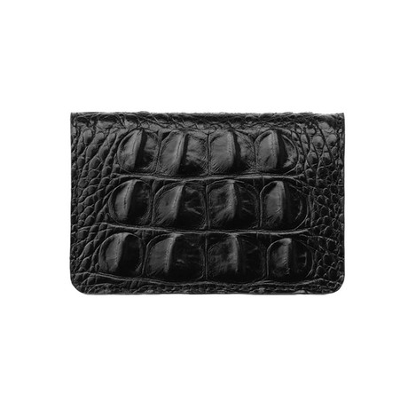 Embossed Crocodile 1 Bifold Wallet (Embossed Crocodile 1 Black // Black Suede)