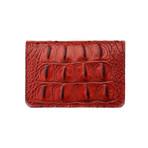 Embossed Crocodile 1 Bifold Wallet (Embossed Crocodile 1 Black // Black Suede)