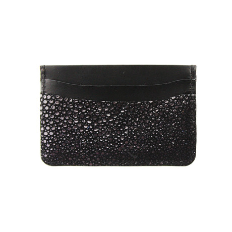Embossed Stingray Card Holder (Black Embossed Stingray)
