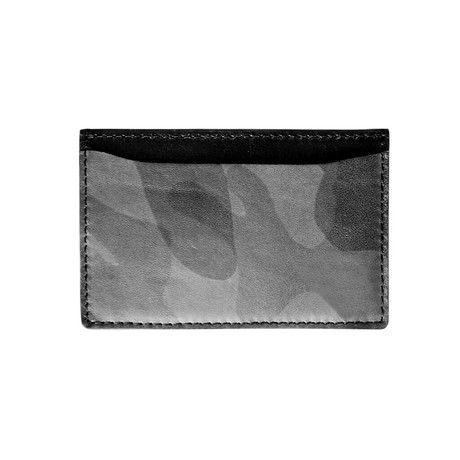Army Lamb Vertical Card Holder (Army Lamb Gray Leather)