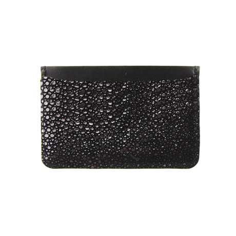 Embossed Stingray Vertical Card Holder // Black