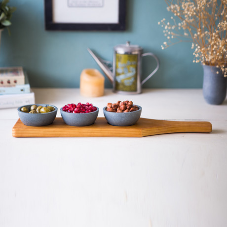 Wooden Condiment Trio + Traditional Bowls